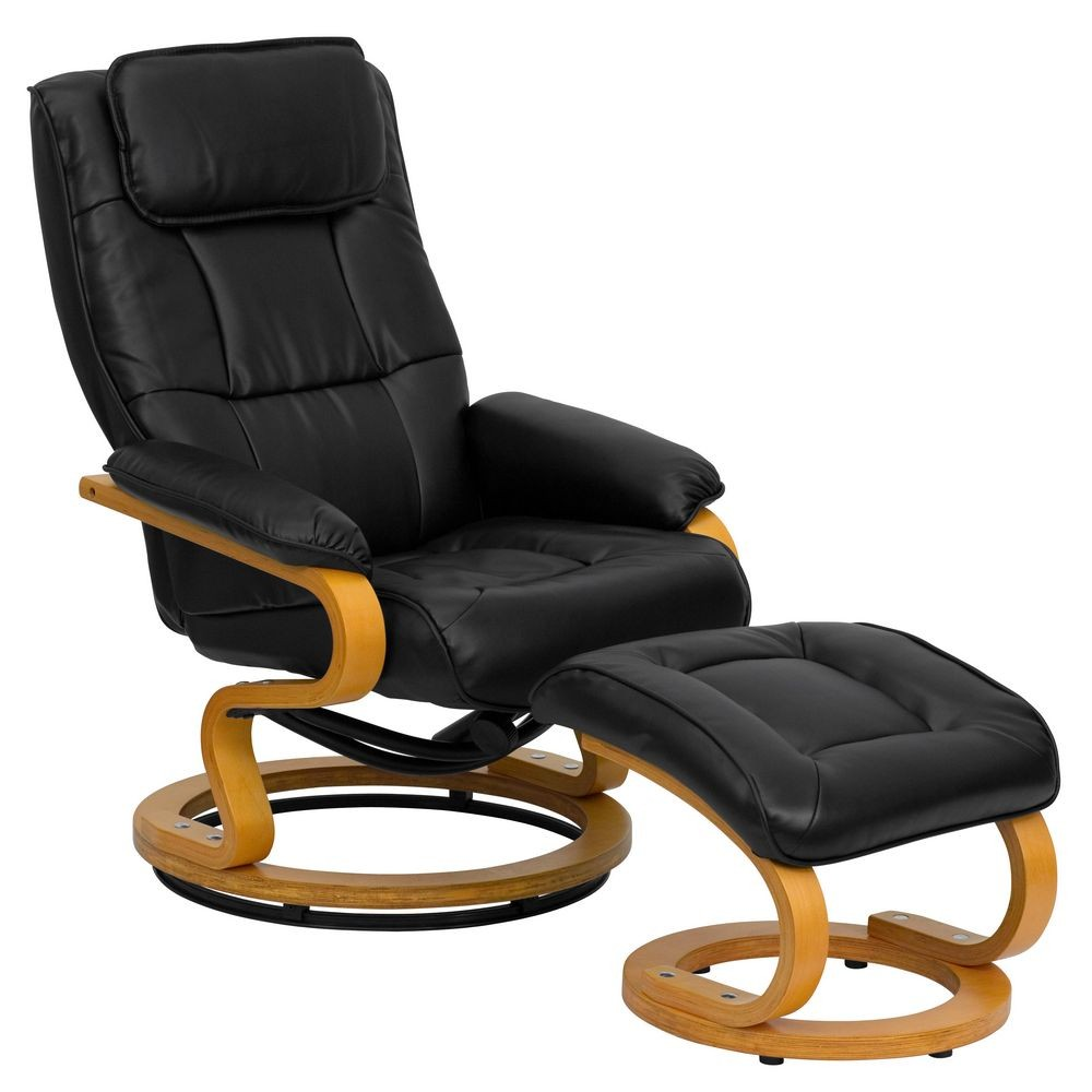 Flash Furniture BT-7615-BK-CURV-GG Contemporary Black Leather Recliner and Ottoman with Swiveling Maple Wood Base