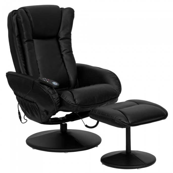 Flash Furniture BT-7672-MASSAGE-BK-GG Massaging Black Leather Recliner and Ottoman with Leather Wrapped Base