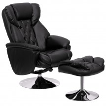 Flash Furniture BT-7807-TRAD-GG Transitional Black Leather Recliner and Ottoman with Chrome Base