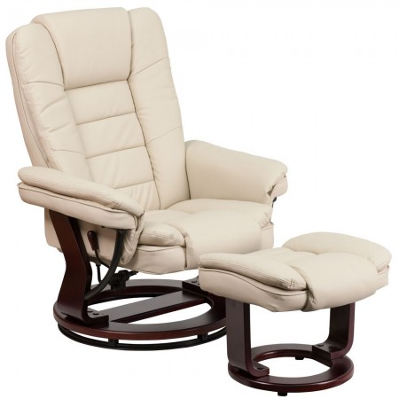 Flash Furniture BT-7818-BGE-GG Contemporary Beige Leather Recliner / Ottoman with Swiveling Mahogany Wood Base