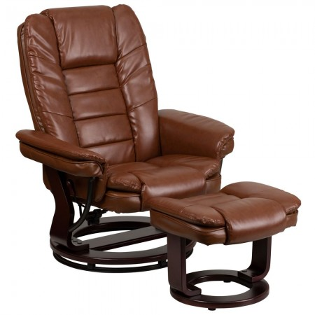 Flash Furniture BT-7818-VIN-GG Contemporary Multi-Position Recliner with Horizontal Stitching and Ottoman with Swivel Mahogany Wood Base in Brown Vintage Leather