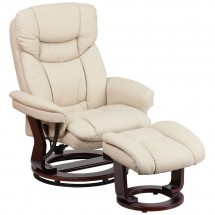 Flash Furniture BT-7821-BGE-GG Contemporary Multi-Position Recliner and Curved Ottoman with Swivel Mahogany Wood Base in Beige Leather