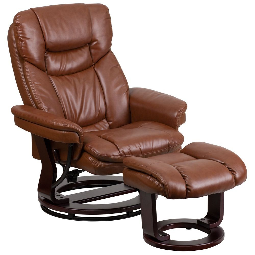 Flash Furniture BT-7821-GG Contemporary Leather Recliner / Ottoman with Swiveling Mahogany Wood Base