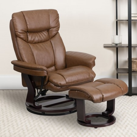 Flash Furniture BT-7821-PALIMINO-GG Palimino Leathersoft Contemporary Multi-Position Recliner and Curved Ottoman with Swivel Mahogany Wood Base