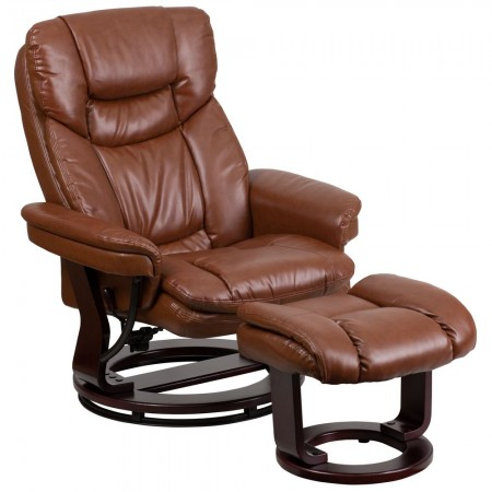 Flash Furniture BT-7821-VIN-GG Contemporary Brown Vintage Leather Recliner / Ottoman with Swiveling Mahogany Wood Base