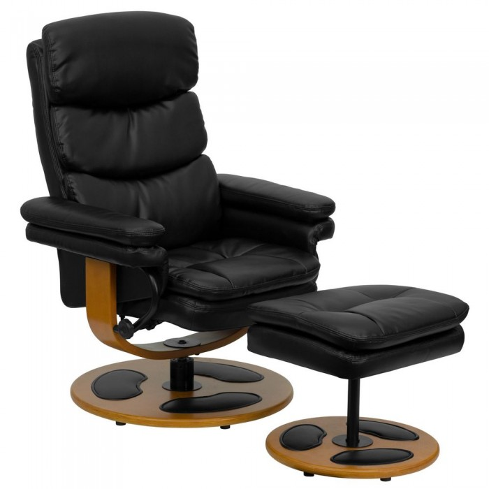 Flash Furniture BT-7828-PILLOW-GG Contemporary Black Leather Recliner and Ottoman with Wood Base