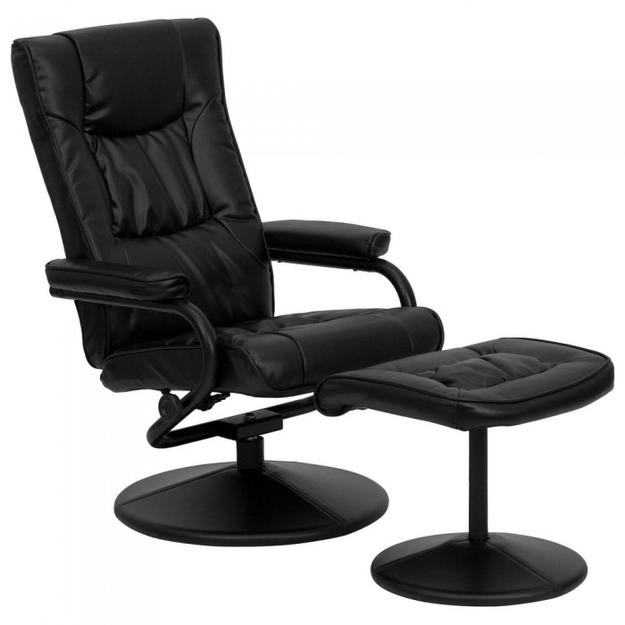 Flash Furniture BT-7862-BK-GG Contemporary Black Leather Recliner and Ottoman with Leather Wrapped Base