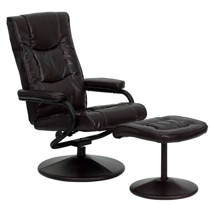 Flash Furniture BT-7862-BN-GG Contemporary Brown Leather Recliner and Ottoman with Leather Wrapped Base