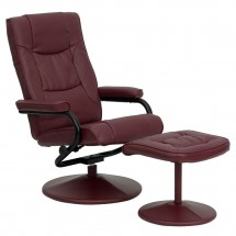 Flash-Furniture-BT-7862-BURG-GG-Contemporary-Burgundy-Leather-Recliner-and-Ottoman-with-Leather-Wrapped-Base