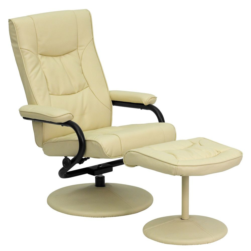 Flash Furniture BT-7862-CREAM-GG Contemporary Cream Leather Recliner and Ottoman with Leather Wrapped Base