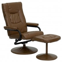 Flash Furniture BT-7862-PALIMINO-GG Contemporary Palomino Leather Recliner and Ottoman with Leather Wrapped Base