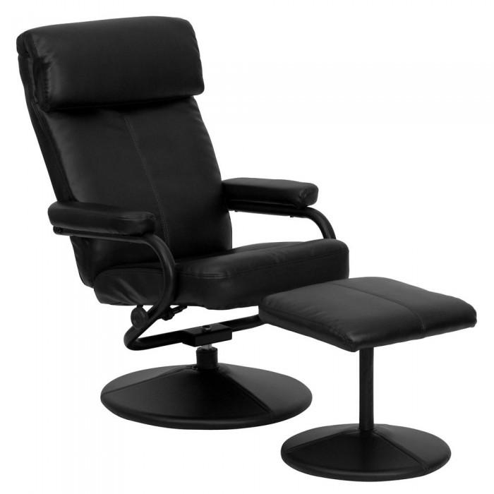 Flash Furniture BT-7863-BK-GG Contemporary Black Leather Recliner and Ottoman with Leather Wrapped Base