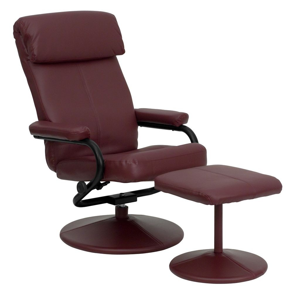 Flash Furniture BT-7863-BURG-GG Contemporary Burgundy Leather Recliner and Ottoman with Leather Wrapped Base