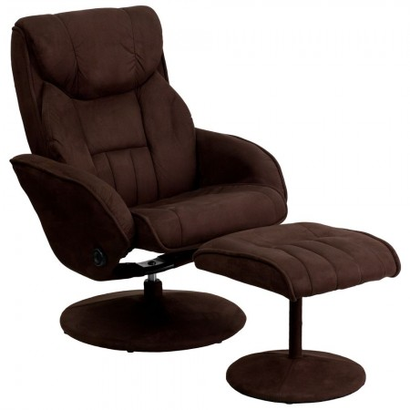 Flash Furniture BT-7895-MIC-PINPOINT-GG Brown Contemporary Microfiber Recliner and Ottoman with Circular Microfiber Wrapped Base