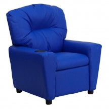 Flash Furniture BT-7950-KID-BLUE-GG Contemporary Blue Vinyl Kids Recliner with Cup Holder