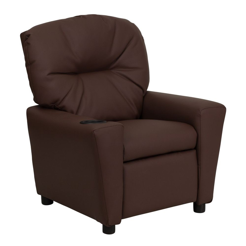 Flash furniture bt 7950 kid brn lea gg contemporary brown for Kids recliner chair
