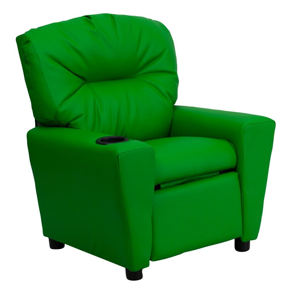 Flash Furniture BT-7950-KID-GRN-GG Contemporary Green Vinyl Kids Recliner with Cup Holder