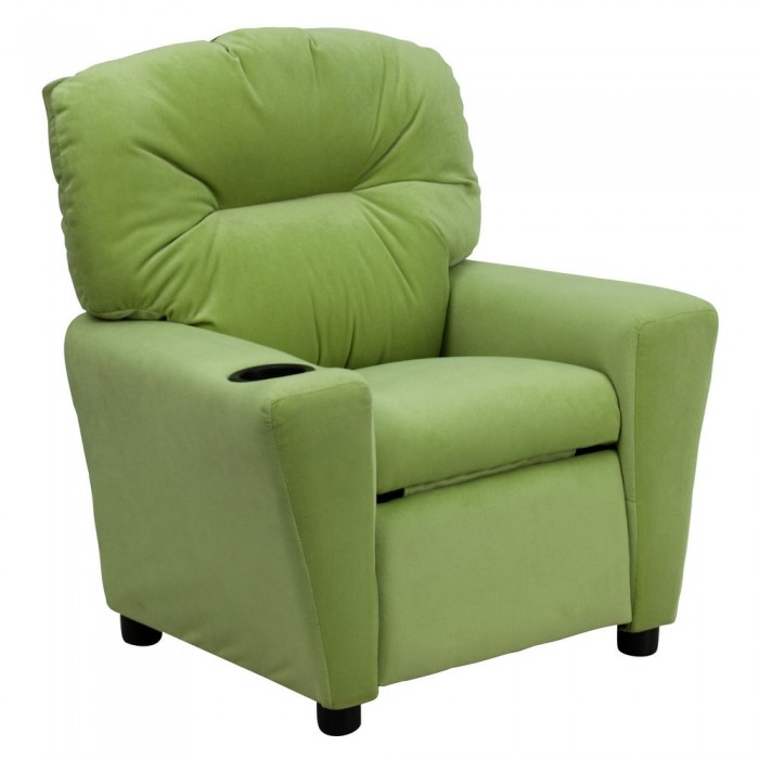 Flash Furniture BT-7950-KID-MIC-AVO-GG Contemporary Avocado Microfiber Kids Recliner with Cup Holder