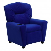 Flash Furniture BT-7950-KID-MIC-BLUE-GG Contemporary Blue Microfiber Kids Recliner with Cup Holder