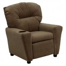 Flash Furniture BT-7950-KID-MIC-BRWN-GG Contemporary Brown Microfiber Kids Recliner with Cup Holder