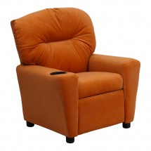 Flash Furniture BT-7950-KID-MIC-ORG-GG Contemporary Orange Microfiber Kids Recliner with Cup Holder