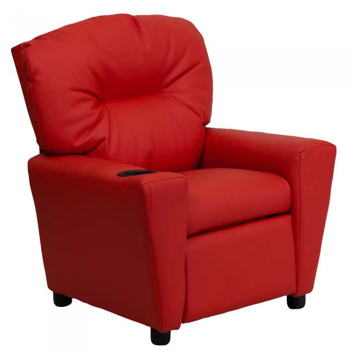 Flash Furniture BT-7950-KID-RED-GG Contemporary Red Vinyl Kids Recliner with Cup Holder