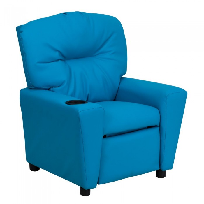 Flash Furniture BT-7950-KID-TURQ-GG Contemporary Turquoise Vinyl Kids Recliner with Cup Holder