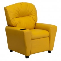Flash Furniture BT-7950-KID-YEL-GG Contemporary Yellow Vinyl Kids Recliner with Cup Holder