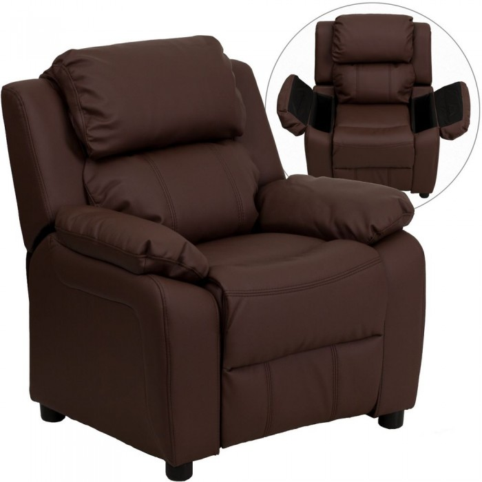 Flash Furniture BT-7985-KID-BRN-LEA-GG Deluxe Heavily Padded Contemporary Brown Leather Kids Recliner with Storage Arms