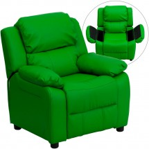 Flash Furniture BT-7985-KID-GRN-GG Deluxe Heavily Padded Contemporary Green Vinyl Kids Recliner with Storage Arms
