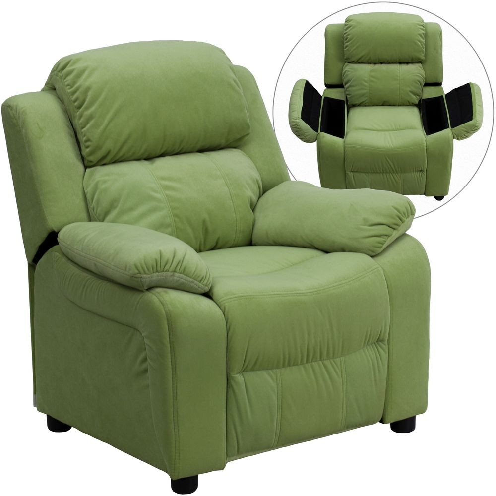 Flash Furniture BT-7985-KID-MIC-AVO-GG Deluxe Heavily Padded Contemporary Avocado Microfiber Kids Recliner with Storage Arms