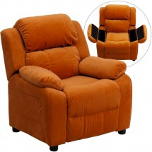 Flash Furniture BT-7985-KID-MIC-ORG-GG Deluxe Heavily Padded Contemporary Orange Microfiber Kids Recliner with Storage Arms