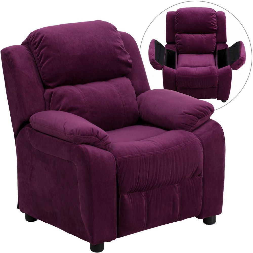 Flash Furniture BT-7985-KID-MIC-PUR-GG Deluxe Heavily Padded Contemporary Purple Microfiber Kids Recliner with Storage Arms