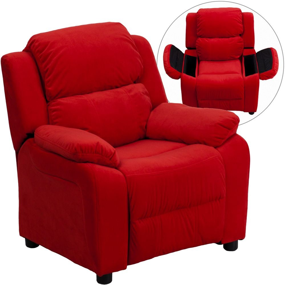 Flash Furniture BT-7985-KID-MIC-RED-GG Deluxe Heavily Padded Contemporary Red Microfiber Kids Recliner with Storage Arms
