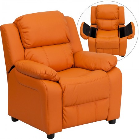 Flash Furniture BT-7985-KID-ORANGE-GG Deluxe Heavily Padded Contemporary Orange Vinyl Kids Recliner with Storage Arms