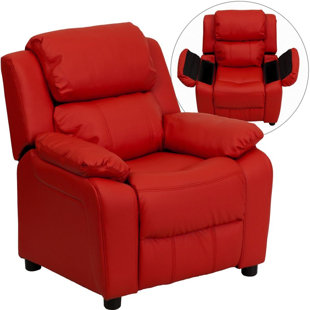 Flash furniture bt 7985 kid red gg deluxe heavily padded for Kids recliner chair