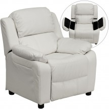 Flash Furniture BT-7985-KID-WHITE-GG Deluxe Heavily Padded Contemporary White Vinyl Kids Recliner with Storage Arms