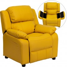 Flash Furniture BT-7985-KID-YEL-GG Deluxe Heavily Padded Contemporary Yellow Vinyl Kids Recliner with Storage Arms