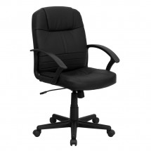Flash Furniture BT-8075-BK-GG Mid-Back Black Leather Executive Swivel Office Chair