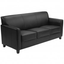 Flash Furniture BT-827-3-BK-GG HERCULES Diplomat Series Black Leather Sofa