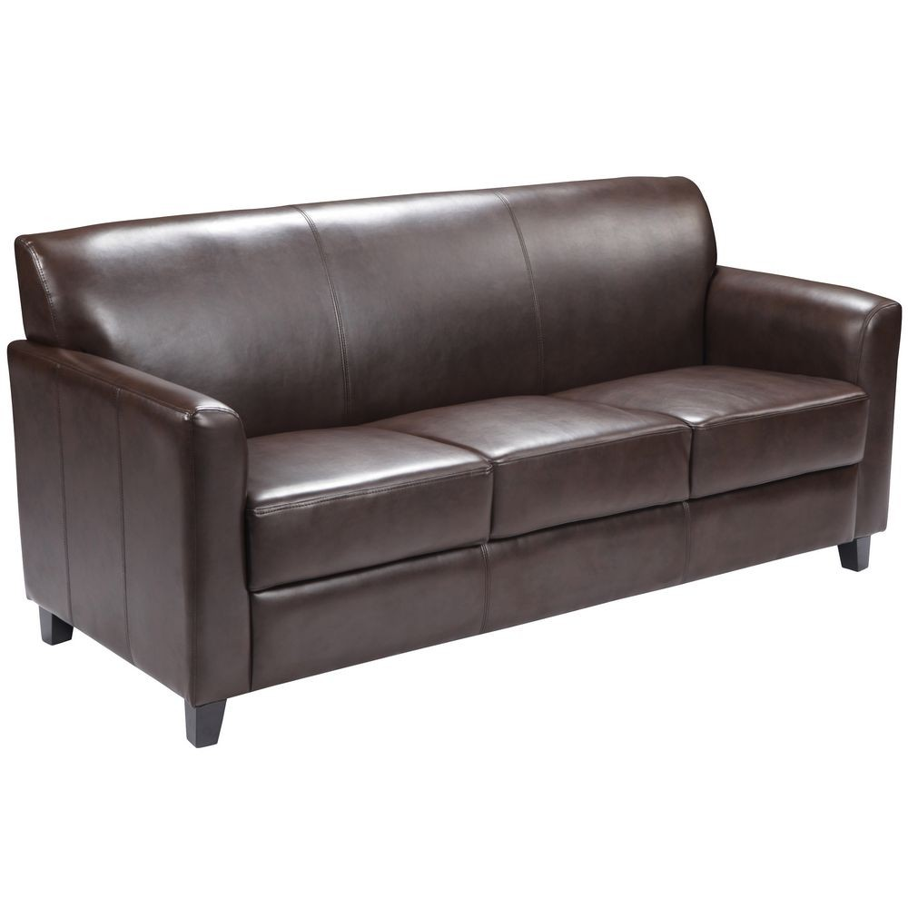 Flash Furniture BT-827-3-BN-GG HERCULES Diplomat Series Brown Leather Sofa