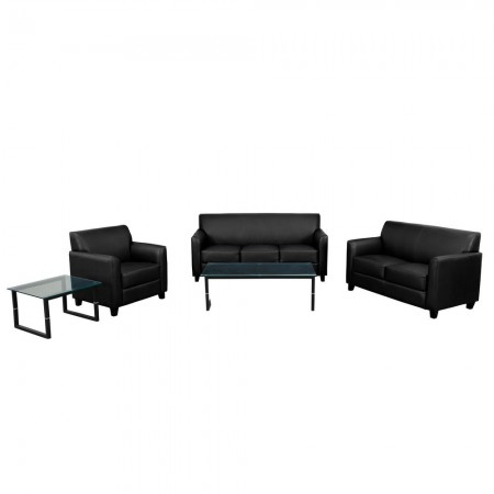 Flash Furniture BT-827-SET-BK-GG HERCULES Diplomat Series Reception Set in Black