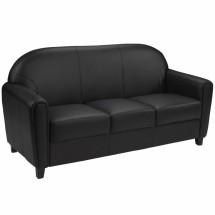 Flash Furniture BT-828-3-BK-GG HERCULES Envoy Series Black Leather Sofa
