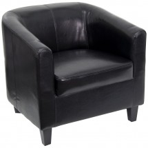 Flash Furniture BT-873-BK-GG Black Leather Office Guest Chair / Reception Chair