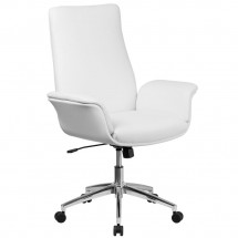 Flash Furniture BT-88-MID-WH-GG Mid-Back White Leather Executive Swivel Office Chair with Flared Arms