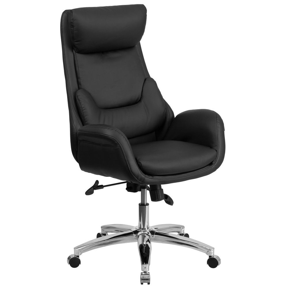 Flash Furniture BT-90027OH High Back Leather Executive Office Chair with Lumbar Pillow