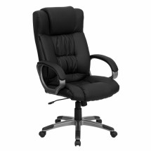 Flash Furniture BT-9002H-BK-GG High Back Black Leather Executive Office Chair