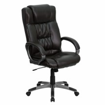 Flash Furniture BT-9002H-BRN-GG High Back Espresso Brown Leather Executive Office Chair