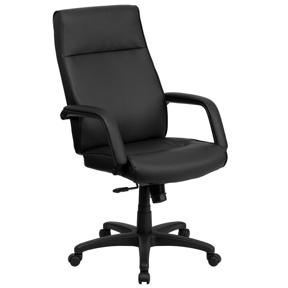 Flash Furniture BT-90033H-BK-GG High Back Black Leather Executive Office Chair with Memory Foam Padding