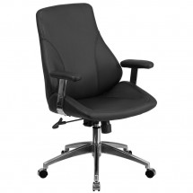 Flash Furniture BT-90068M-GG Mid-Back Leather Executive Swivel Office Chair